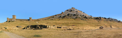 Genoese fortress panorama Stock Photos