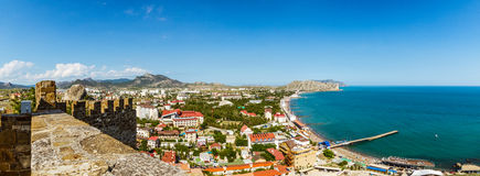 Genoese fortress in the resort town of Sudak, Crimean Peninsula, Black sea. Summer of 2016 royalty free stock photo