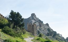 Genoese fortress on a rock, Crimea. stock photography