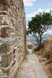Genoese fortress. Ruins of ancient fortress wall and tower Royalty Free Stock Photos