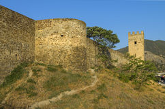 Genoese fortress in Sudak, Crimea. The base of a round tower. Stock Photo