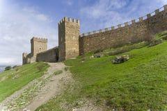 Genoese fortress in Sudak, Crimea. Stock Photo