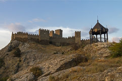 Genoese fortress in Sudak, Crimea. Stock Images