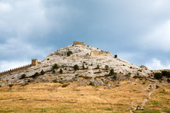 Genoese fortress in Sudak. Evening view. Royalty Free Stock Photography