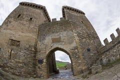 genoese sudak för crimea fästning ingångsfästning till royaltyfri bild