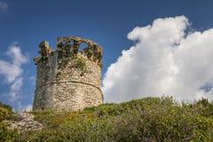 Genoese torn på Farinole på Cap Corse i Korsika Arkivfoton