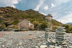 Genoese torn på Negru på Cap Corse i Korsika Arkivbilder