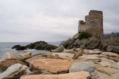 Genoese tower on Cape Corse. During rough weather Royalty Free Stock Photos