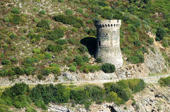 Genoese tower in Corsica. L'Osse defense tower Stock Image