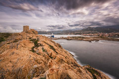 Genoese tower at La Pietra in Ile Rousse in Corsica Stock Photos