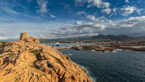 Genoese tower at La Pietra in Ile Rousse in Corsica Royalty Free Stock Photo