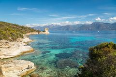 Genoese tower at Mortella near St Florent in Corsica Stock Images