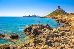 Genoese tower of Parata peninsula, Corsica, France. Stock Image