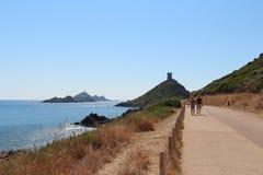 Genoese Turm und Leuchtturm, Ajaccio, Korsika, Frankreich Stockfotos