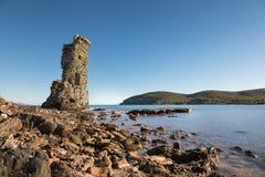 Genoese turnera de Santa Maria på Cap Corse i Korsika Royaltyfria Bilder