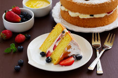 Genoise (cake) with cream, berries Stock Photography