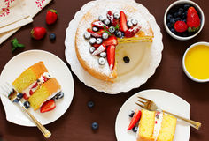 Genoise (cake) with cream, berries Royalty Free Stock Images