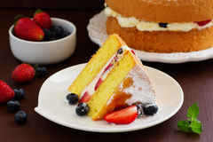 Genoise (cake) with cream, Stock Images