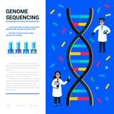 Genom uporządkowywa pojęcie Mali naukowowie i helix dna, genomu lub genu struktura, Używalny dla sieć sztandaru, artykuły ilustracja wektor