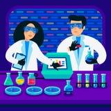 Genoma que ordena concepto Científicos que trabajan en laboratorio de la nanotecnología o de la bioquímica Hélice de la molécula  libre illustration