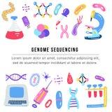 Genoma tirado mão que arranja em sequência o conceito Símbolos humanos da tecnologia da pesquisa do ADN ilustração do vetor