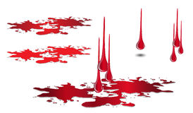 Genomblöt blod- och pöluppsättning på vit Bloddroppvektor Royaltyfria Foton