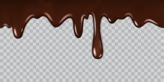Genomblöt choklad Vätskeramsirap för läcker gourmet- choklad som lagar mat smältta choklader som är bittra med isolerade droppar royaltyfri illustrationer