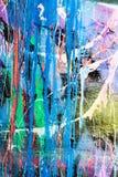 Genomblöt målarfärggrafittivägg Fotografering för Bildbyråer