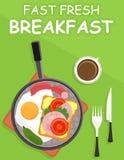 Genomblöt panna med den nya frukosten Fotografering för Bildbyråer