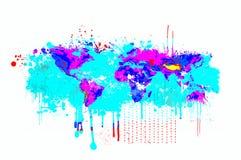 Genomblöt världskarta för färgstänk i blåa och magentafärgade färger Grundläggande bild av jordartighetNASA Arkivfoto