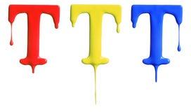 Genomblött alfabet för målarfärg Royaltyfri Foto