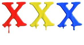 Genomblött alfabet för målarfärg Arkivfoton