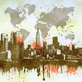 Genomblöt stadshorisont för Grunge Arkivbild