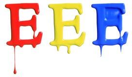 Genomblött alfabet för målarfärg Arkivfoto