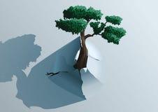 Genombrottträd till och med papperet royaltyfri illustrationer