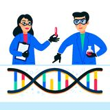 Genome sequencing concept. Scientists working in Nanotechnology or biochemistry laboratory. Molecule helix of dna. Genome or gene structure. Human genome vector illustration