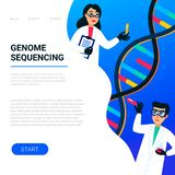 Genome sequencing concept. Scientists working in Nanotechnology or biochemistry laboratory. Molecule helix of dna. Genome or gene structure. Human genome stock illustration