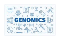 Genomics konturu nauki wektorowy horyzontalny sztandar ilustracji