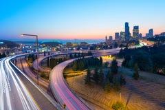 Genomskärning mellan I-5 och I-90 i Seattle, Royaltyfri Fotografi