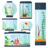 Genomskinlig akvariumvektorillustration som isoleras på för livsmiljöaquarian för vit fisk bunken för behållare för hus den under stock illustrationer