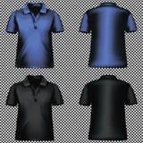 Genomskinlig bakgrund för tom för T-tröja mall för blå svart vektor Arkivbilder