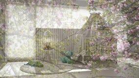 Genomskinlig blom- bakgrund, över det vita barnsovrummet med markislathunden, minsta begreppsinre royaltyfri bild