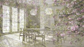 Genomskinlig blom- bakgrund, över klassiskt kök med trä- och grått minimalistic och modern begrepp för detaljer, royaltyfria bilder