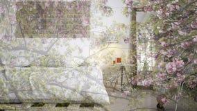 Genomskinlig blom- bakgrund, över modernt modernt sovrum, ekologisk inre för begrepp arkivfoto