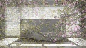 Genomskinlig blom- bakgrund, över scandinavian badrum, vitt minimalistic begrepp arkivfoton