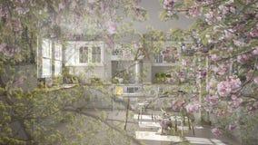 Genomskinlig blom- bakgrund, över scandinavian klassiskt vitt kök med trädetaljer, minimalistic begreppsinre fotografering för bildbyråer