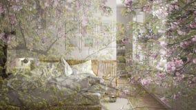 Genomskinlig blom- bakgrund, över scandinavian minsta ljust sovrum, ekologisk inre för begrepp arkivbilder