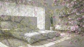 Genomskinlig blom- bakgrund, över scandinavian modernt vitt sovrum, ekologisk inre för begrepp stock illustrationer