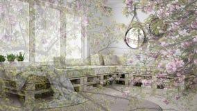 Genomskinlig blom- bakgrund, över scandinavian vit uppehälle, ekologiskt begrepp arkivfoto