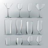 Genomskinlig exponeringsglasuppsättningvektor Genomskinliga tomma exponeringsglasbägare för vatten, alkohol, fruktsaft, coctaildr royaltyfri illustrationer